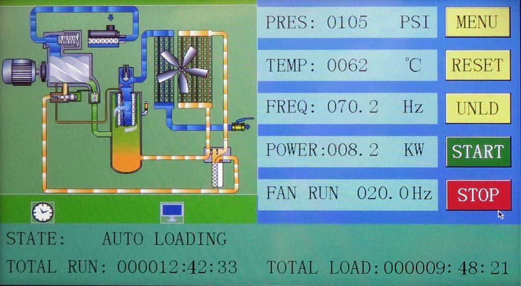 air compressor status main screen